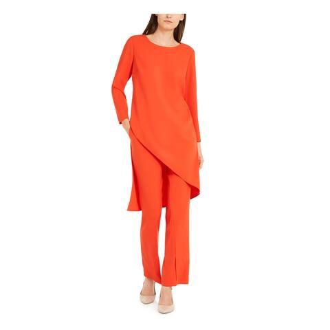 ALFANI Womens Red Long Sleeve Jewel Neck Tunic Top Size XL