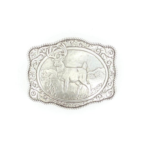 Crumrine Western Belt Buckle Rectangle Buck Scalloped Silver - 2 3/4 x 3 1/2