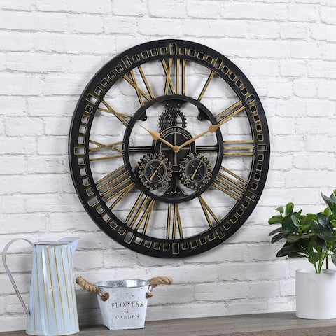 FirsTime & Co.® Gilded Gears Outdoor Clock, American Crafted, Brushed Gold, Plastic, 24 x 1.5 x 24 in - 24 x 1.5 x 24 in