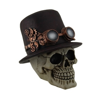 Sir Steam Human Skull Statue Wearing Mechanical Top Hat w/Steampunk Goggles - 7 X 6.5 X 6.5 inches