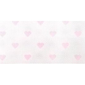 "White W/Baby Pink Hearts - Impressions Aida Needlework Fabric 14 Count 14""X18"""
