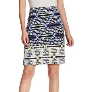 Nic+Zoe NEW Blue Women's Size 2P Petite Straight Pencil Geo-Print Skirt