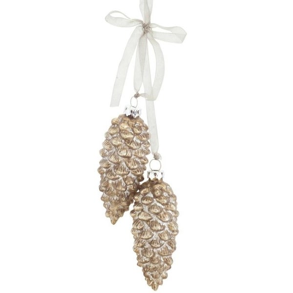 Pack of 6 Decorative Glass Golden Pine Cone Drop Ornament