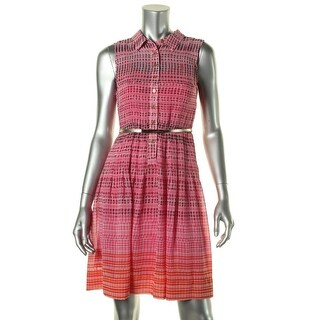 Calvin Klein Womens Petites Chiffon Sleeveless Shirtdress - 6P