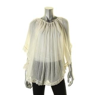 Denim & Supply Ralph Lauren Womens Juniors Blouse Gauze Lace-Trim