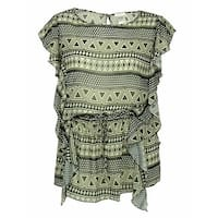 Jessica Simpsom Women's  Tunic Printed Cover ups - creme/gold - S