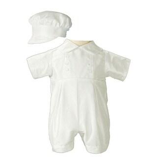 Baby Boys White Off-White Silk Short Sleeve Bonnet Christening Romper