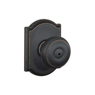 Schlage F40-GEO-CAM Privacy Georgian Door Knobset with the Decorative Camelot Rose