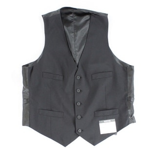 Kenneth Cole Reaction NEW Solid Black Mens Size 42 Button Down Vest