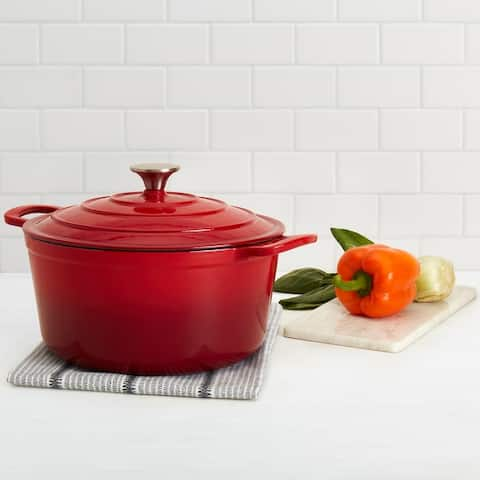 Denmark 6QT Enamel Cast Iron Covered Round Dutch Oven - Red