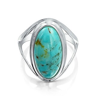 Bling Jewelry 925 Silver Oval Untreated Natural Turquoise Cocktail Ring - Blue