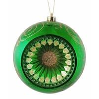 "Emerald Green Retro Reflector Shatterproof Christmas Ball Ornament 8"" (200mm)"
