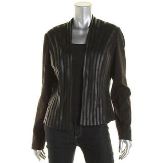 Calvin Klein Womens KNit Faux Leather Trim Jacket - 12
