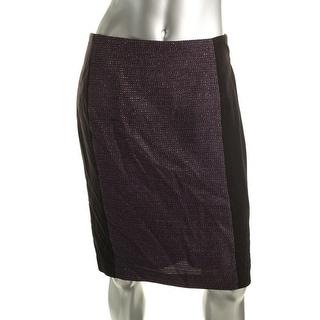 Laundry by Shelli Segal Womens Ponte Metallic Pencil Skirt