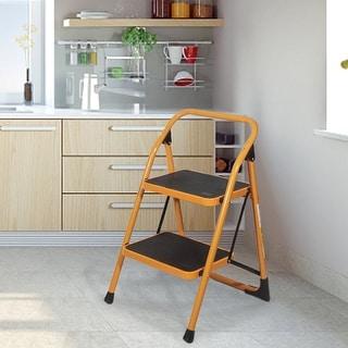 Anti-Slip 2 Step Ladder Folding Step Stool 330Lbs Max Capacity Yellow