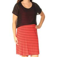 KENSIE Womens Red Striped Short Sleeve Scoop Neck Above The Knee Shift Dress  Size: S