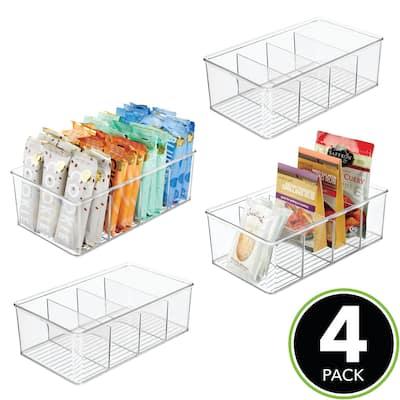 mDesign Plastic Kitchen Pantry Food Storage Organizer Bin, 4 Pack - 6 X 10.5