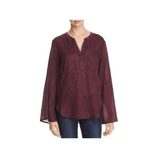 Side Stitch Womens Blouse Printed Flare Sleeves - xL