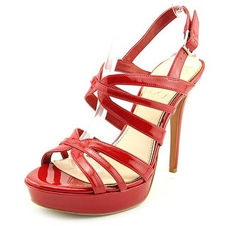 Jessica Simpson Binnie Open Toe Patent Leather Platform Heel