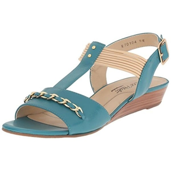Rose Petals by Walking Cradles Womens Jasmine Wedge Sandals Leather T-Strap
