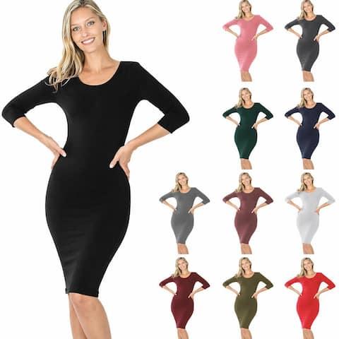 NioBe Clothing Women's Cotton 3/4 Sleeve Bodycon Fitted Knee Length Midi Dress