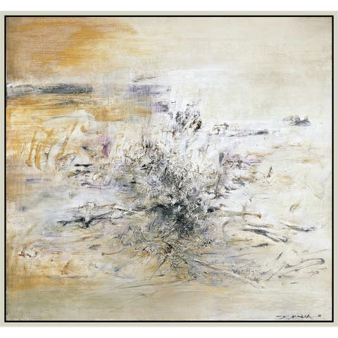 """Yellow Earth by Zao Wou-Ki Giclee Print Oil Painting Silver Frame Size 12"""" x 11"""""""