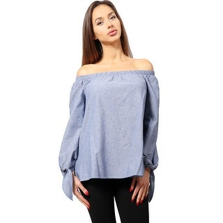 NE PEOPLE Women's Casual Lightweight Denim Off Shoulder Top