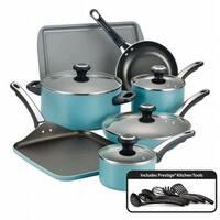 Farberware Aluminum 21926 Nonstick 17 Piece Cookware Set in Aqua