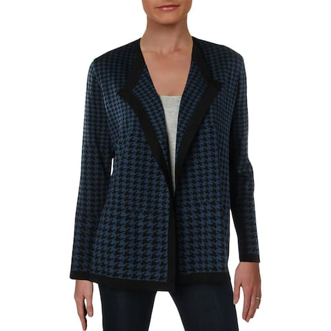 Anne Klein Womens Cardigan Sweater Jacquard Trimmed