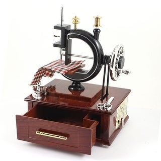 Simulation Antique Sewing Machine Shape Music Box Home Decoration for Children Kids Brown