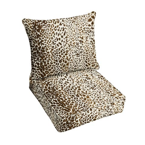 Sunbrella Tan Leopard Indoor/Outdoor Pillow and Cushion Set, Corded