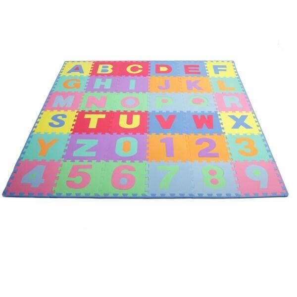 ProsourceFit Babymat Kids Puzzle Foam Interlocking Floor Play Mat with Alphabet Numbers 36 Tiles Edges