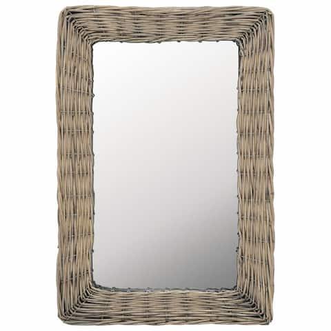 "vidaXL Mirror Wicker Brown 15.7""x23.6"""