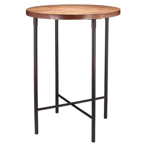 """Highpoint 20"""" Dia. x 26"""" High Rustic Wood and Metal Accent Table - 20"""" Dia. x 26"""" H"""