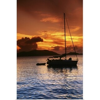 """""""Moored yacht at sunset"""" Poster Print"""