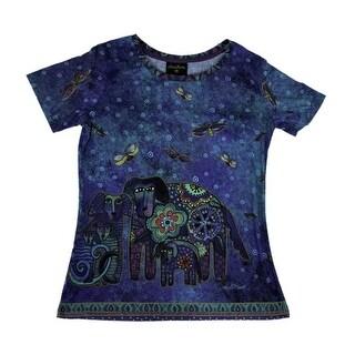Laurel Burch Blue Canine Family Short Sleeve Ladies T-Shirt