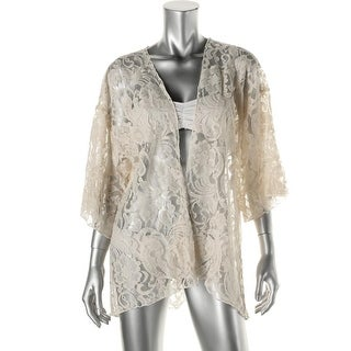 Elan Womens Lace Short Sleeves Kimono Swim Cover-Up - o/s