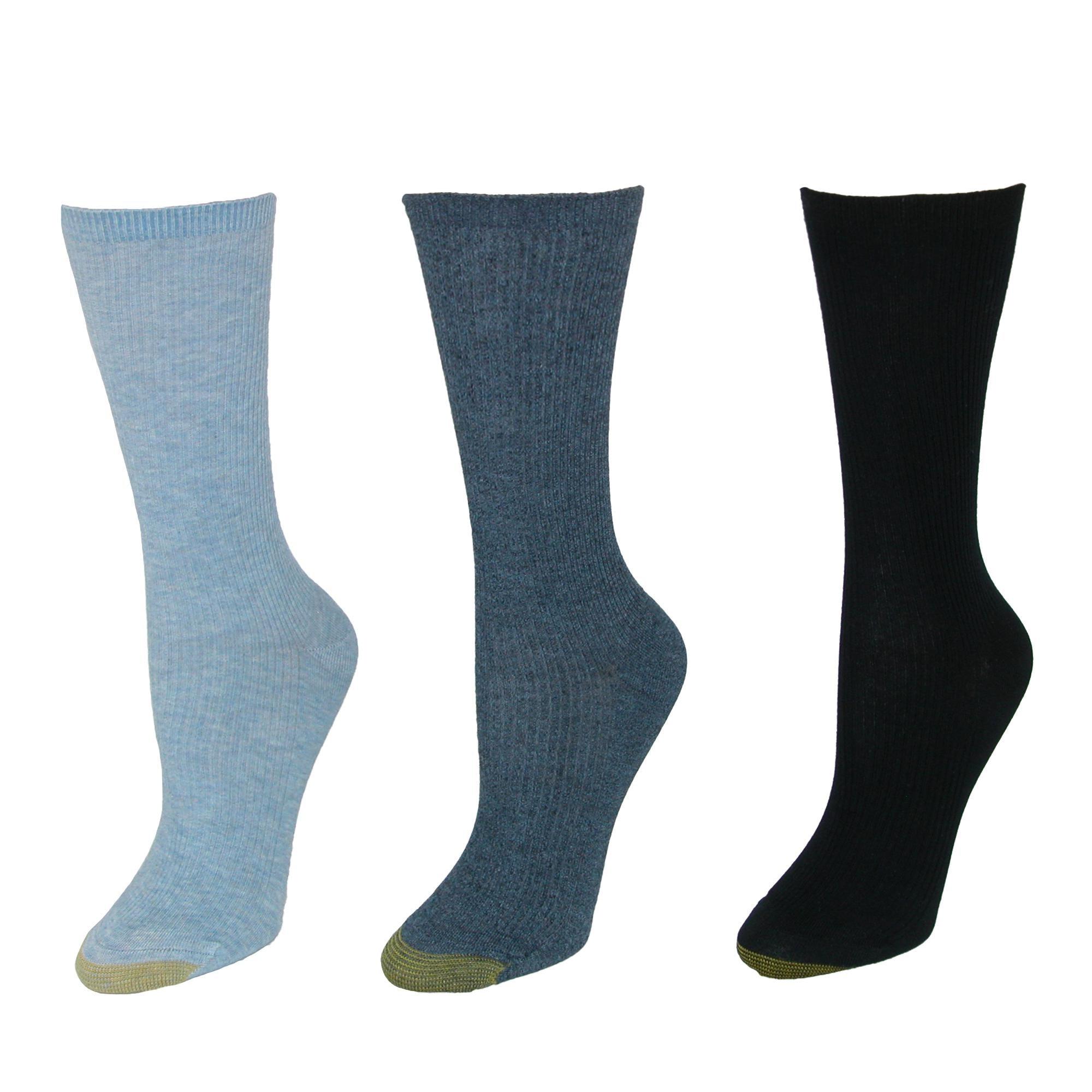 3 Pair Pack New Gold Toe Women/'s Non Binding Ribbed Crew Socks