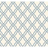 York Wallcoverings WA7706 Waverly Classics Hampton Trellis Wallpaper - delft blue/pure white