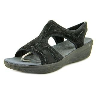Easy Spirit Manic Women Open Toe Suede Black Thong Sandal