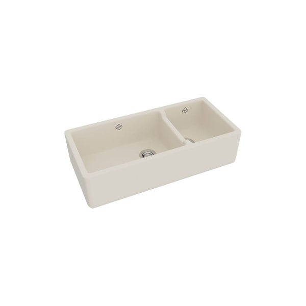 Rohl RC4019 Shaws Original 60/40 Double Basin Farmhouse Fireclay Apron Kitchen Sink