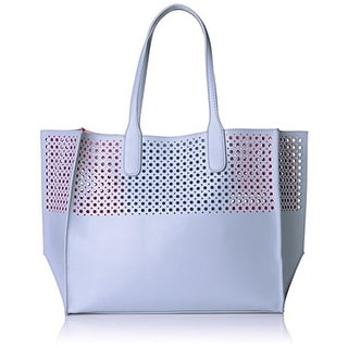 Emilie M. Womens La Mar Faux Leather Perforated Tote Handbag - sky/watermelon - Extra Large