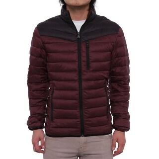 INC International Concepts Color-Blocked Zip Front Puffer Jacket Men Burgundy Coat