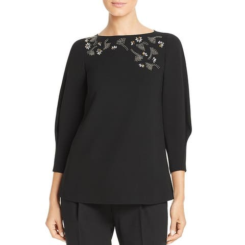 Lafayette 148 New York Womens Caddie Blouse Embellished Night Out - Black