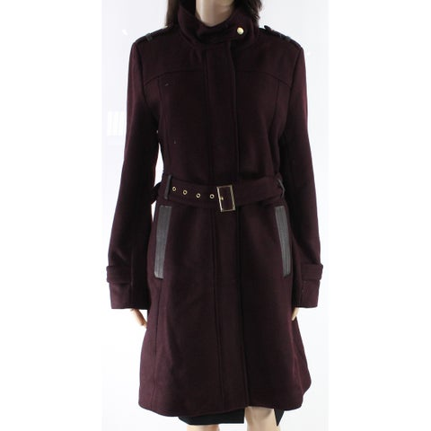 Cole Haan Purple Womens Size 10 Long Wool Blend Belted Jacket