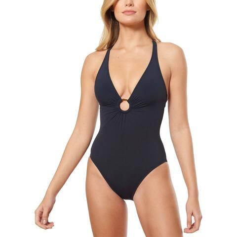 Bleu by Rod Women's Plunge Halter One-Piece Swimsuit, Black, 14