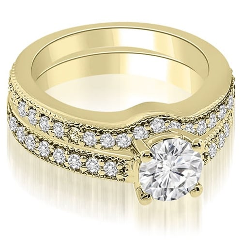 1.04 cttw. 14K Yellow Gold Antique Cathedral Round Diamond Bridal Set