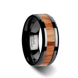 THORSTEN - OBLIVION Red Oak Wood Inlaid Black Ceramic Ring with Bevels