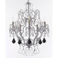 White Iron & Crystal Chandelier With Black Crystal