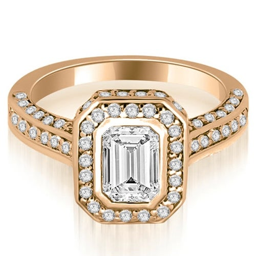 1.50 cttw. 14K Rose Gold Pave Emerald Cut Halo Engagement Diamond Ring